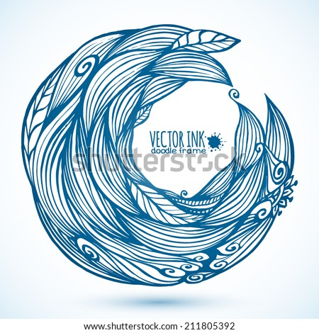 Blue hair waves doodle vector circle frame - stock vector