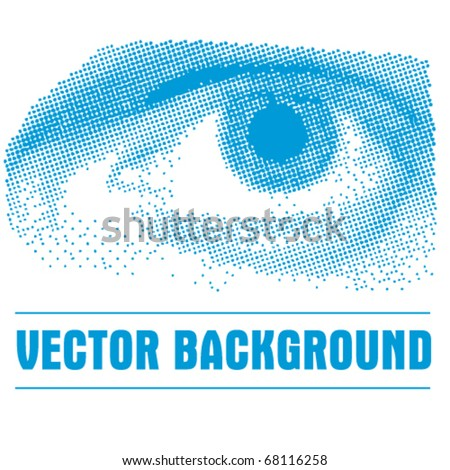 Blue Halftone Eye - stock vector