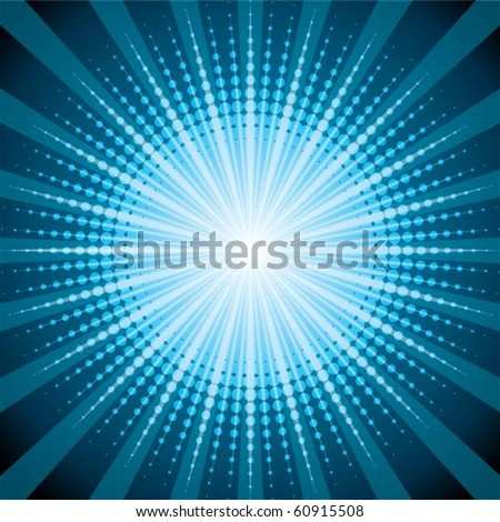 Blue halftone with shine effect background - stock vector