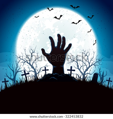 Blue Halloween background with hand on cemetery and Moon, illustration. - stock vector