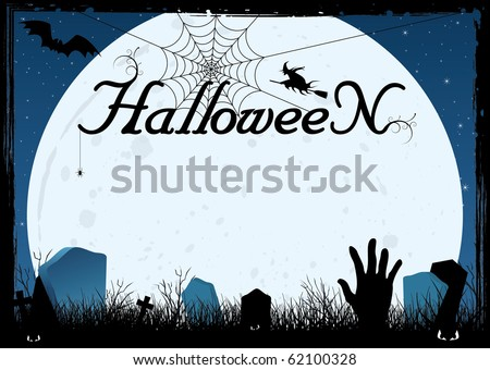 Blue halloween card or cemetery background with hand, bats, tombs, moon, web and witch - stock vector