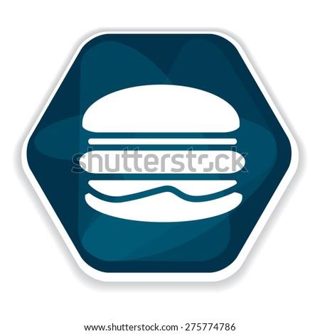 Blue hamburger vector icon, junk food, unhealthy - stock vector