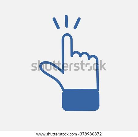 blue hand click icon  - stock vector
