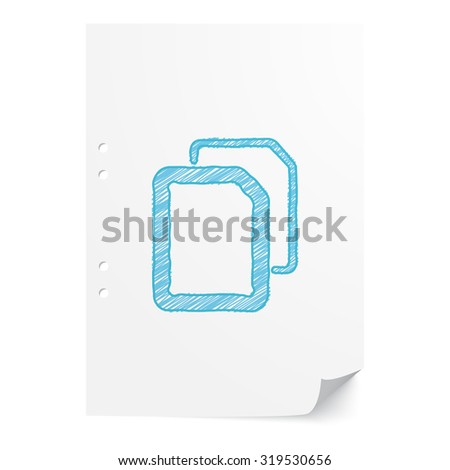 Blue hand drawn Documents illustration on white paper sheet with copy space - stock vector
