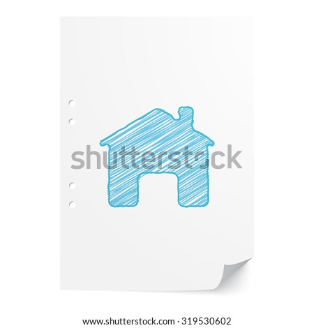 Blue hand drawn Home illustration on white paper sheet with copy space - stock vector