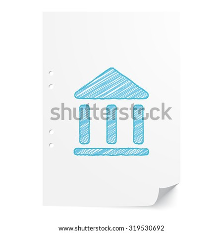 Blue hand drawn Institution illustration on white paper sheet with copy space - stock vector