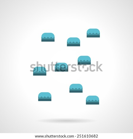 Blue handholds for climbing wall for training. Flat vector icon on white background. - stock vector