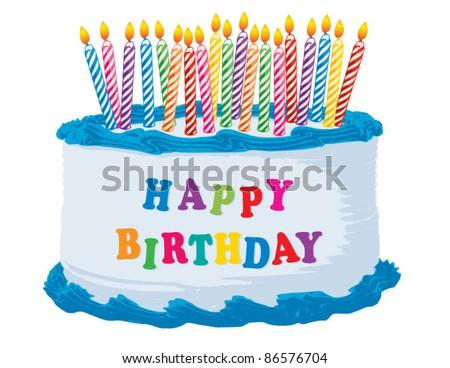 Blue Happy Birthday Cake - stock vector