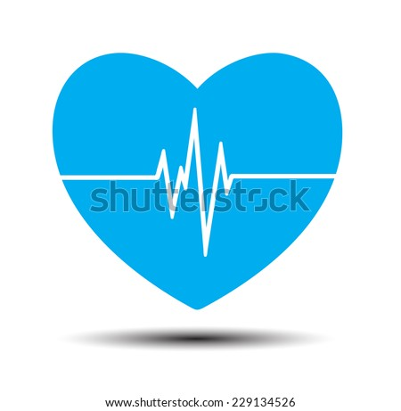 Blue Heart pulse monitor with signal. Heart beat. icon. - stock vector