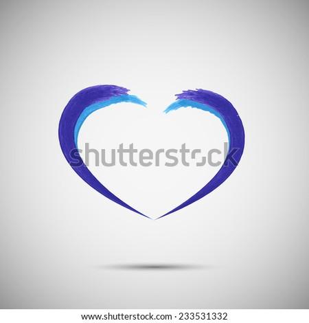 Blue heart vector design logo template.  Emblem symbol.Vector illustration - stock vector
