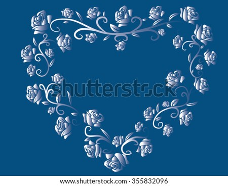 blue heart with roses - stock vector