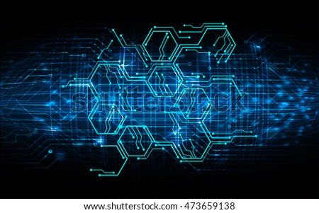 Blue hexagon abstract cyber future technology stock vector for Hexagone innovation