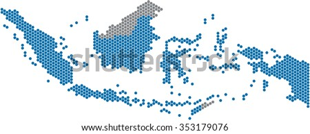 Blue hexagon shape Indonesia map on white background. Vector illustration.