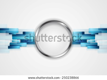 Blue hi-tech background with metal circle. Vector design - stock vector