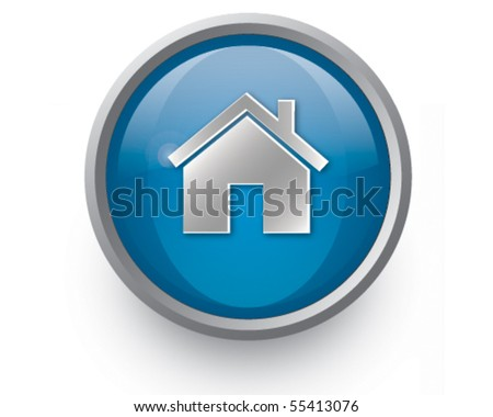 Blue home icon - stock vector