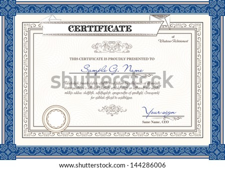 Blue horizontal vector certificate template with additional design elements - stock vector