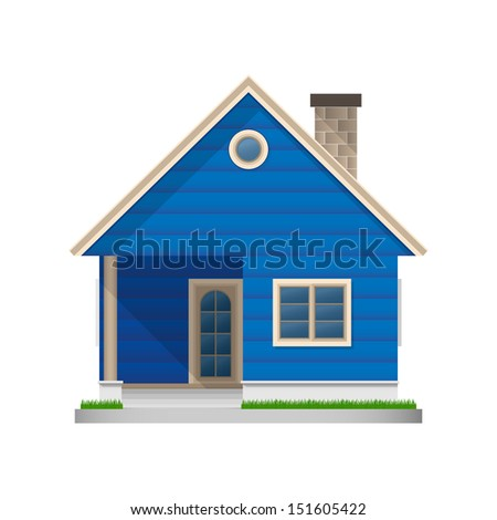Blue house icon on white background - Vector illustration - stock vector