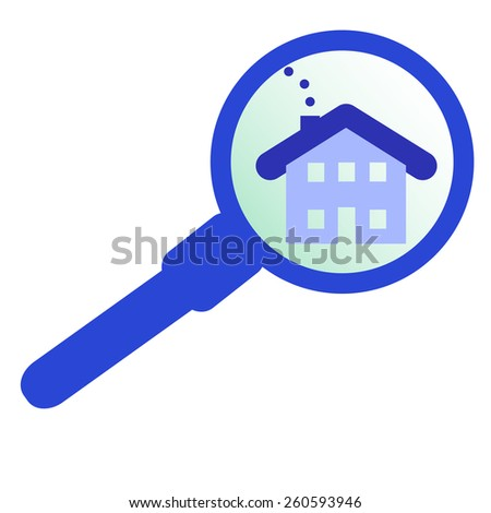 blue house with magnifying glass vector illustration - stock vector