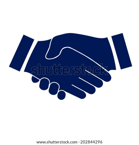 blue icon handshake. background for business and finance - stock vector