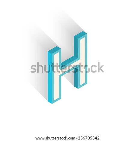 Blue icon isometric letter H with a shadow on a white background. Vector Illustration - stock vector