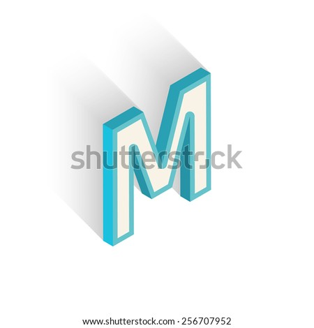 Blue icon isometric letter M with a shadow on a white background. Vector Illustration - stock vector