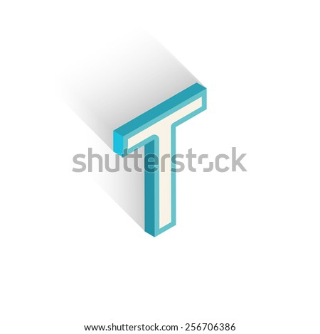 Blue icon isometric letter T with a shadow on a white background. Vector Illustration - stock vector