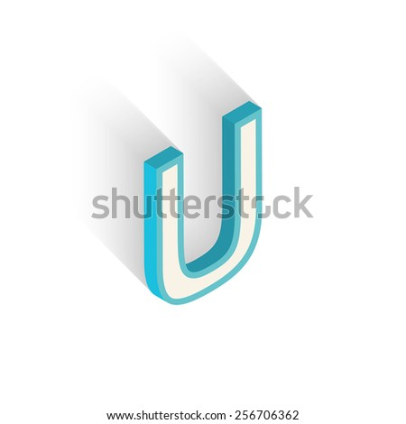 Blue icon isometric letter U with a shadow on a white background. Vector Illustration - stock vector
