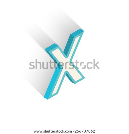 Blue icon isometric letter X with a shadow on a white background. Vector Illustration - stock vector