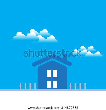 blue icon of home with fence and clound