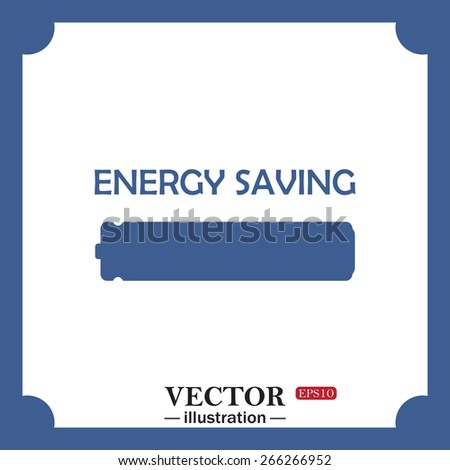 blue icon on white background.  energy saving battery, web icon. vector design - stock vector