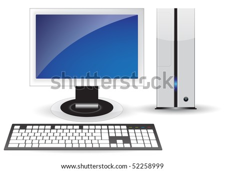 Blue icon pc desktop isolated concept - stock vector