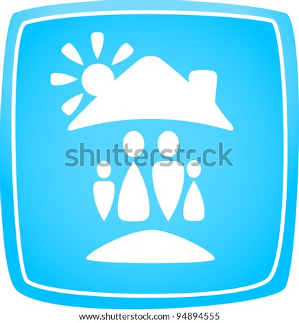 blue icon with family, house and sun silhouette - stock vector