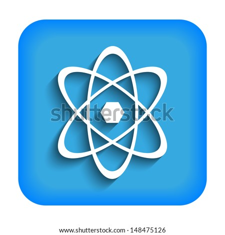 Blue icon with the image of an atom - stock vector