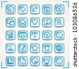 Blue icons set for internet and computer - stock vector