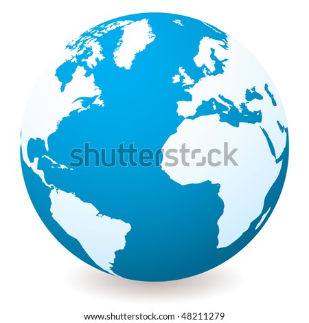 Blue illustrated globe with shadow and white land and ocean - stock vector