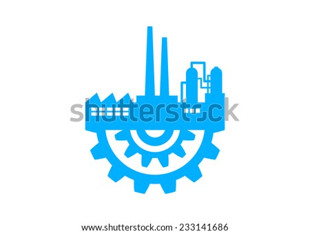 Blue industrial icon on white background - stock vector