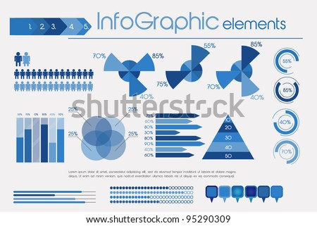 Blue Info Graphic elements - stock vector