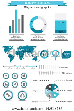 Blue infographic elements template - stock vector