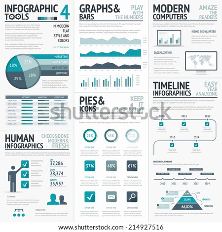 Blue infographics vector elements for business infographs - stock vector