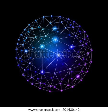 Blue internet web sphere on a black background - stock vector