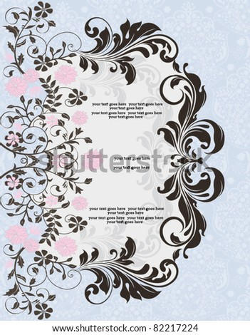 blue invitation with floral elements