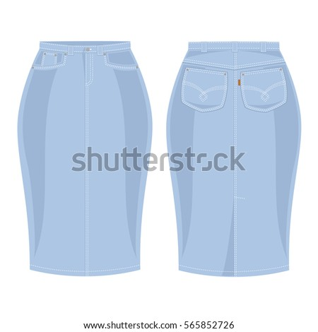 blue jean skirt front view and backon a white background vector