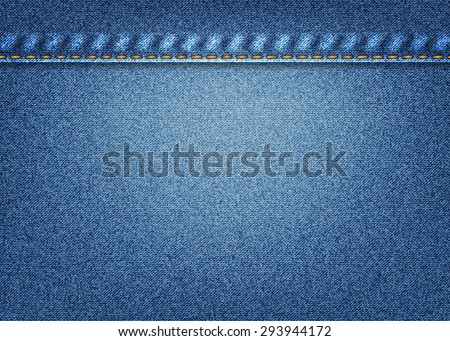 blue jeans background with a line a blank space for record - stock vector
