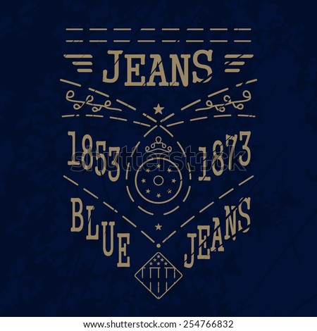 Blue Jeans In One Color For Clothes Vector Format