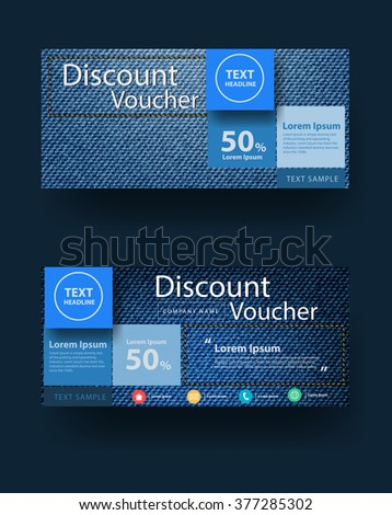 Blue jeans texture background with discount voucher layout template design, Vector illustration - stock vector