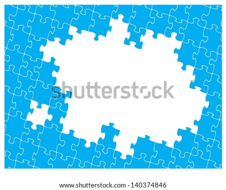 Blue jigsaw pattern with hole for your own design. Jigsaw pieces can be moved or removed to suit your own artwork.