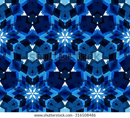 Blue kaleidoscope background. Seamless pattern composed of color abstract elements located on white background. Useful as design element for texture, pattern and artistic compositions. Vector illustration. - stock vector