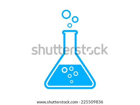 Blue laboratory glass on white background - stock vector