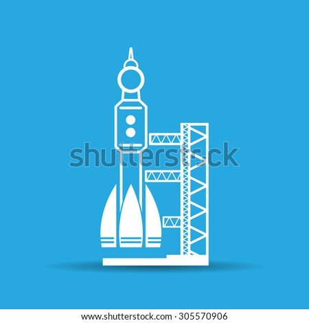 blue launch site with rocket, spaceport icon, vector illustration - stock vector