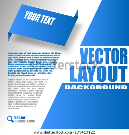 Blue layout. Vector design of page. - stock vector